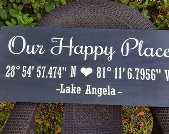 Our Happy place sign.Wood sign,wood decor.Custom sign.Large sign.