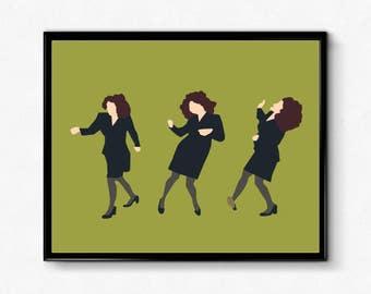 Elaine Dancing Poster- Seinfeld Minimalist Poster, Feminist Print