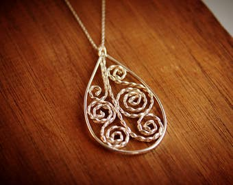 Ooak Handmade Sterling Silver Filigree Pendant
