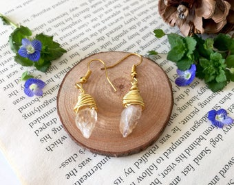 Champagne Quartz Crystal Wire Wrapped Pendant Earrings W/ Gold Plated Chain, Perfect Gift For Her