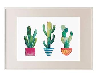 Cactus Pots Print // Watercolour Cactus // Coloured Cactus // Wall Art