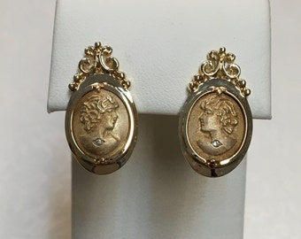14K Yellow Gold Diamond Cameo Earrings