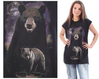 BEAR Shirt Print Tank Top 90s Animal Cut Off Shirt Bear Family Print Tee Unisex Wildlife Black Purple Brown 90s Vintage Large XL