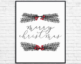 Merry Christmas Printable Wall Art, Christmas Decor, Christmas Wall Art, Instant Download, Christmas Print, digital item