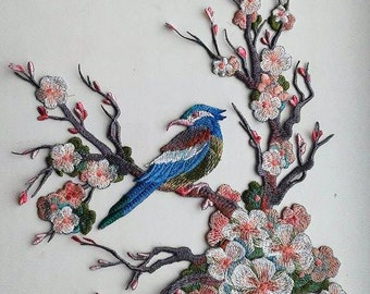 Moks22(p) blossoming cherry bird branch Embroidery Patch