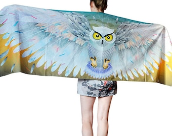 White Snowy Owl Scarf Shawl Wings Winged Scarf Owl Bird Scarf Snow Barn Owl Scarf Winged Scarf Bird Wedding Scarf Bird Scarf Large wing wrap