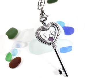 Personalised Stainless Steel 16th Birthday Celebration Memory Heart Key Floating Locket Necklace with Swarovski Birthstone and Initial.