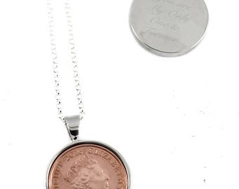 Polished UK Decimal One Penny 1p Coin Engravable Necklace, Birthday Keepsake Gift, Retirement Gift, Mother Day gift (1971 till Present)
