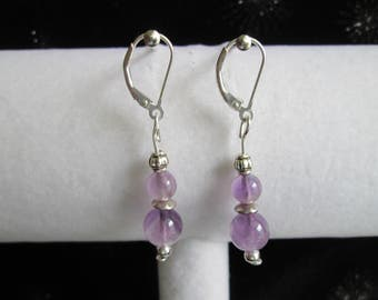Bali Style Sterling Silver and Amethyst Gemstone Earrings