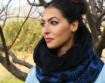 Fluffy Neck-warmer/Cowl Hood, Snood in Black and blue, Faux Sheep Fur lining, Two in one, Neck-warmer and hoodie, Cozy Cylinder Neck-warmer