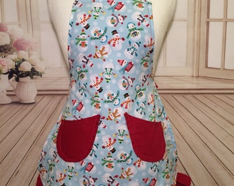 Christmas apron, girls apron, girls Christmas apron, kitchen apron, snowman apron, winter apron, AmorysAprons, holiday, mommy and me apron