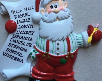 Santa's Nice List Personalized Christmas Ornament - Class Gift, Co workers, Best Friends, Family of eight