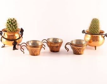 Swedish espresso cups set, copper espresso cups, demitasse cups, Italian espresso cups, small coffee cups, copper cups, copper espresso cup
