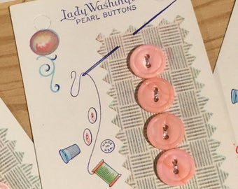 12 Vintage Pink Pearl Buttons On Original Cards by Lady Washington / American Pearl Button Company