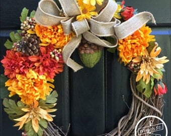 Fall Wreath, Autumn Wreath, Wreath, Front Door Wreath, Mixed Flower Wreath, Grapevine Wreath, Wreath Street Floral