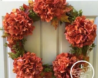 Fall Wreath, Autumn Wreath, Hydrangea Wreath, Orange Wreath, Door Wreath, Wreath, Grapevine Wreath, Wreath Street Floral, Harvest Wreath