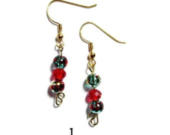 Holiday Earrings/Christmas Color Earrings/Seed Beads/Guitar Pick/Santa/Glass Beads/Red/Green/Silver Tone/French-Fish Hooks