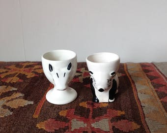 Two Vintage Animal Egg Cups - Panda-shaped Eggcup - Cow-shaped Eggcup - Eggcup Collectible - Nursery Eggcups