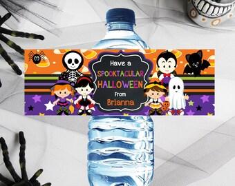 """Halloween Water Bottle Labels, Kids Halloween Party, Halloween Party Decor, Water Labels, Halloween Water Bottle Wrappers, 2.5 x 8"""" Wrapper"""