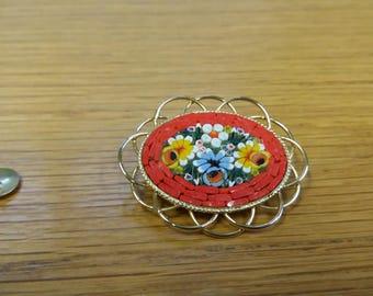 Vintage Mini Mosaic 50s 60s Brooch - Kitsch Chic Beautiful Boho Piece