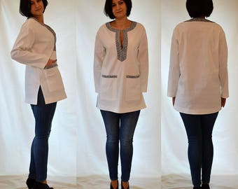 White, ivory, louse, tube, oversized, long sleeves, comfortable, spring, summer top. Sizes UK 12-14, 16-18 / US 8-10, 12-14