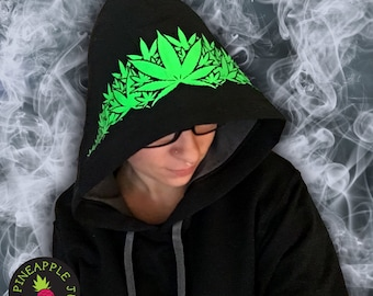 Pot Leaf Flower Crown Hoodie - Stoner Hoodie with stash pocket!