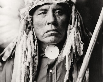 Native American Edward Curtis Curley-Apsaroke Photo Art Print Picture A4