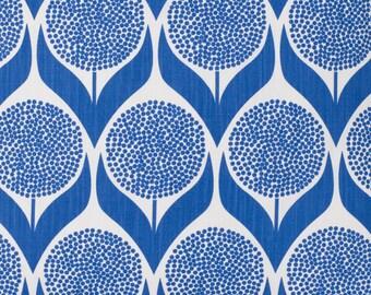 Scandinavian Fabric- Cobalt Blue Fabric- Curtain Fabric- Floral Fabric- Geometric Fabric- Retro Fabric- Designer Fabric- Modern Fabric