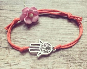 Hamsa hand bracelet in salmon bracelet silver, stainless steel, protecting hand, blogger, vintage, statement,