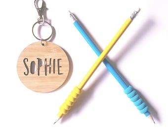 Bag Tag / Keyring Wood Bamboo Personalised Custom - Sophie Font-school-kinder-wooden