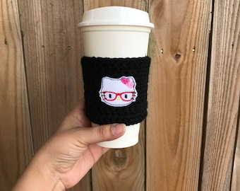 SALE--Kitty Cup Cozy, coffee sleeve, reusable coffee sleeve, party favors