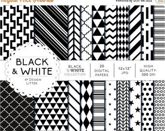 80% Until New Year - Black & white digital papers · black and white geometric backgrounds polka dots chevrons stars triangles for scrapbooki