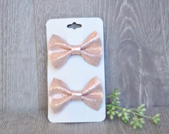 Rose Gold on Pink Leather, Piggy Pack, Leather Hair Clips, Leather Bows