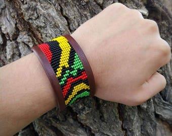 Rastafarian beaded leather cuff bracelets,cuff bracelets, Rastafarian bracelets, Rastafarian Jewerly