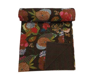 Kantha Quilt Gudri, Handmade Kantha Ethnic Stitch Decorative Gudri  Print King Size Quilt ,Indian Handmade Bohemian Bedspread