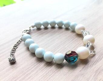 Charming Swarovski Pastel Blue and White Pearl bracelet