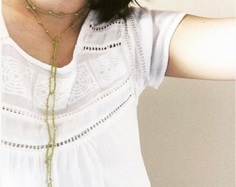 Choker Necklace chartreuse- wrap Choker, beaded choker, lariat necklace, y necklace, drop necklace, wrap around necklace, dainty choker