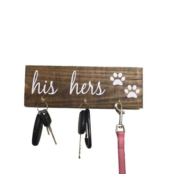 His Hers Dog Key Hanger Key Holder Leash Holder Leash