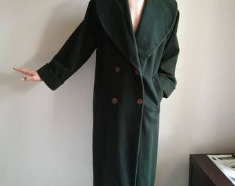 Christian Dior vintage racing green full length double breasted wool coat