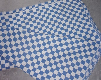 A vintage fabric or vintage blue and white checkered