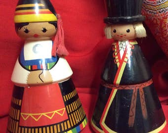 Pair of Hand Painted Wooden Estonian Dolls