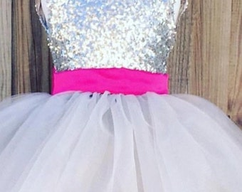 Sequin pink bow dress