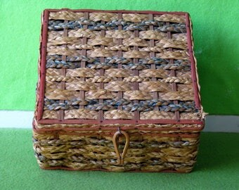 Textiles and Sewing, Sewing Basket, Vintage, Factory made likely Asia, Estimated from 1940's