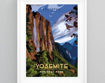 Vintage Travel Poster Yosemite National Park, California. Handmade, A4 or A3 size, CUSTOMISABLE