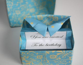 Origami box with butterfly and event invite