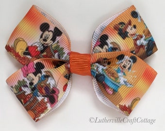 Mickey & Minnie Thanksgiving Hair Bow~Small Thanksgiving Hair Bow~Infant/Toddler Thanksgiving Hair Bow