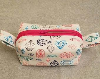 Makeup Bag, Bright Colorful Jewel Pattern Fabric