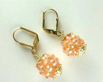 Orange Shimmer Gold Dangle Earrings
