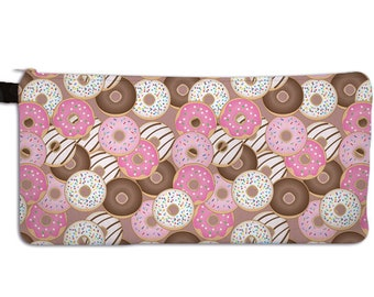 Donut Pencil Case Donuts Make Up Bag Donut Print Cosmetic Bag Doughnut Pattern Pink Sprinkled  ***MTO***