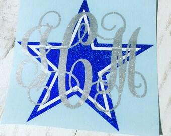 Dallas Cowboys Glitter Monogram or Name Decal / Personalized Monogram / Custom Monogram / Vinyl Decal / Monogram / Any Name / Vine